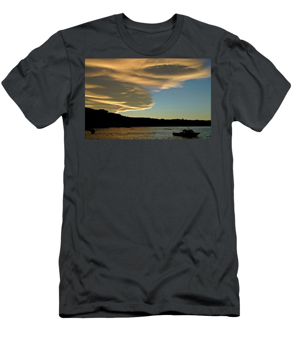Fishing Boat Men's T-Shirt (Athletic Fit) featuring the digital art Sunset Over South Island Of New Zealand by Mark Duffy