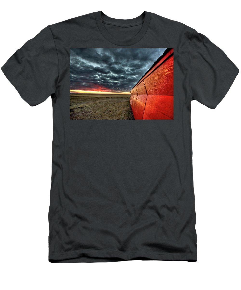 Sunset Men's T-Shirt (Athletic Fit) featuring the digital art Sunset Saskatchewan Canada by Mark Duffy