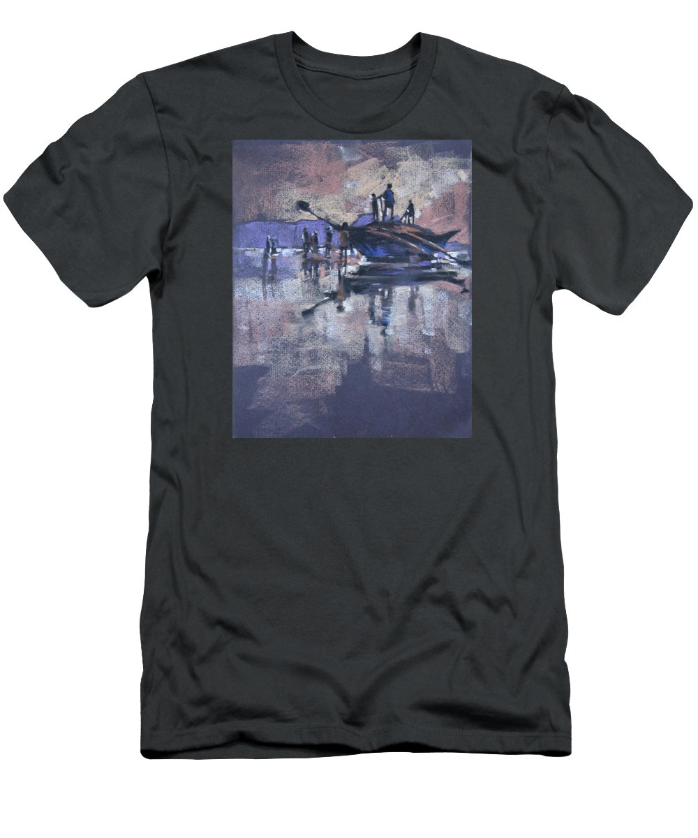 Beach Men's T-Shirt (Athletic Fit) featuring the painting Sunset by Snehal Page