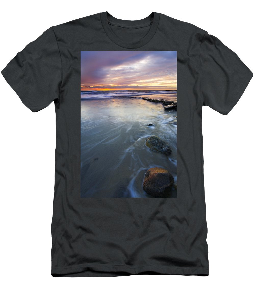 Seascape Men's T-Shirt (Athletic Fit) featuring the photograph Sunset Storm by Mike Dawson