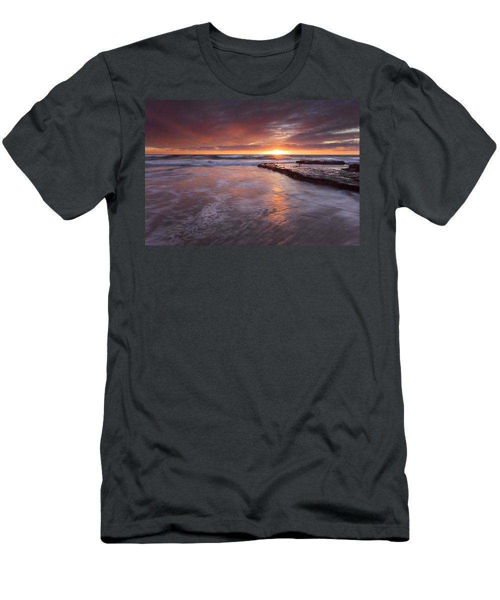 A Glorious Sunset Off The Coast Of San Diego Men's T-Shirt (Athletic Fit) featuring the photograph Sunset Tides by Mike Dawson