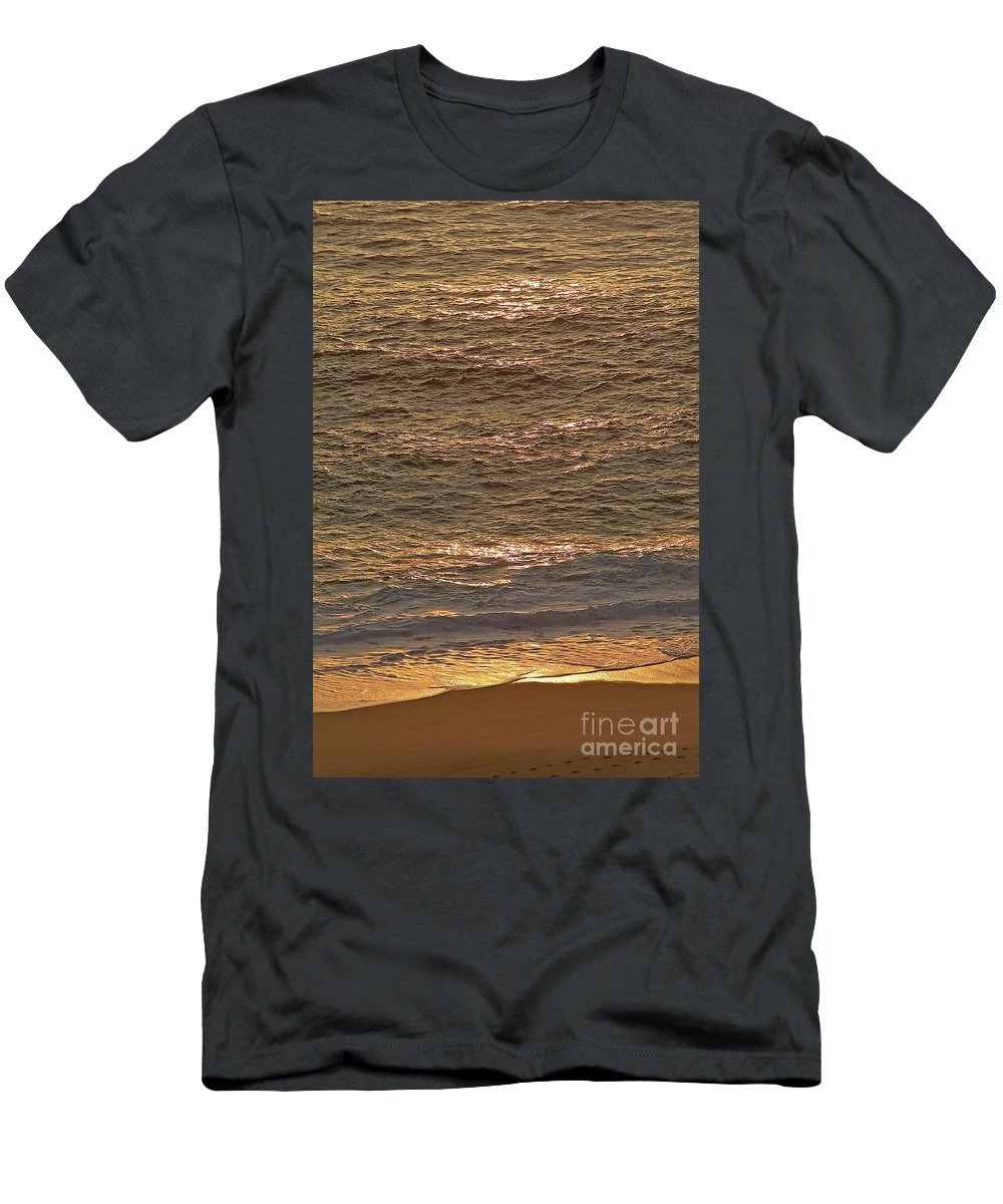 Golden Men's T-Shirt (Athletic Fit) featuring the photograph Sunset Waves Over Carmel Beach by Charlene Mitchell