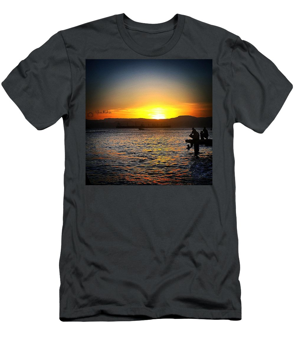 Sea ... Sunset... Aqaba Men's T-Shirt (Athletic Fit) featuring the photograph Sunset by Yara Thaher