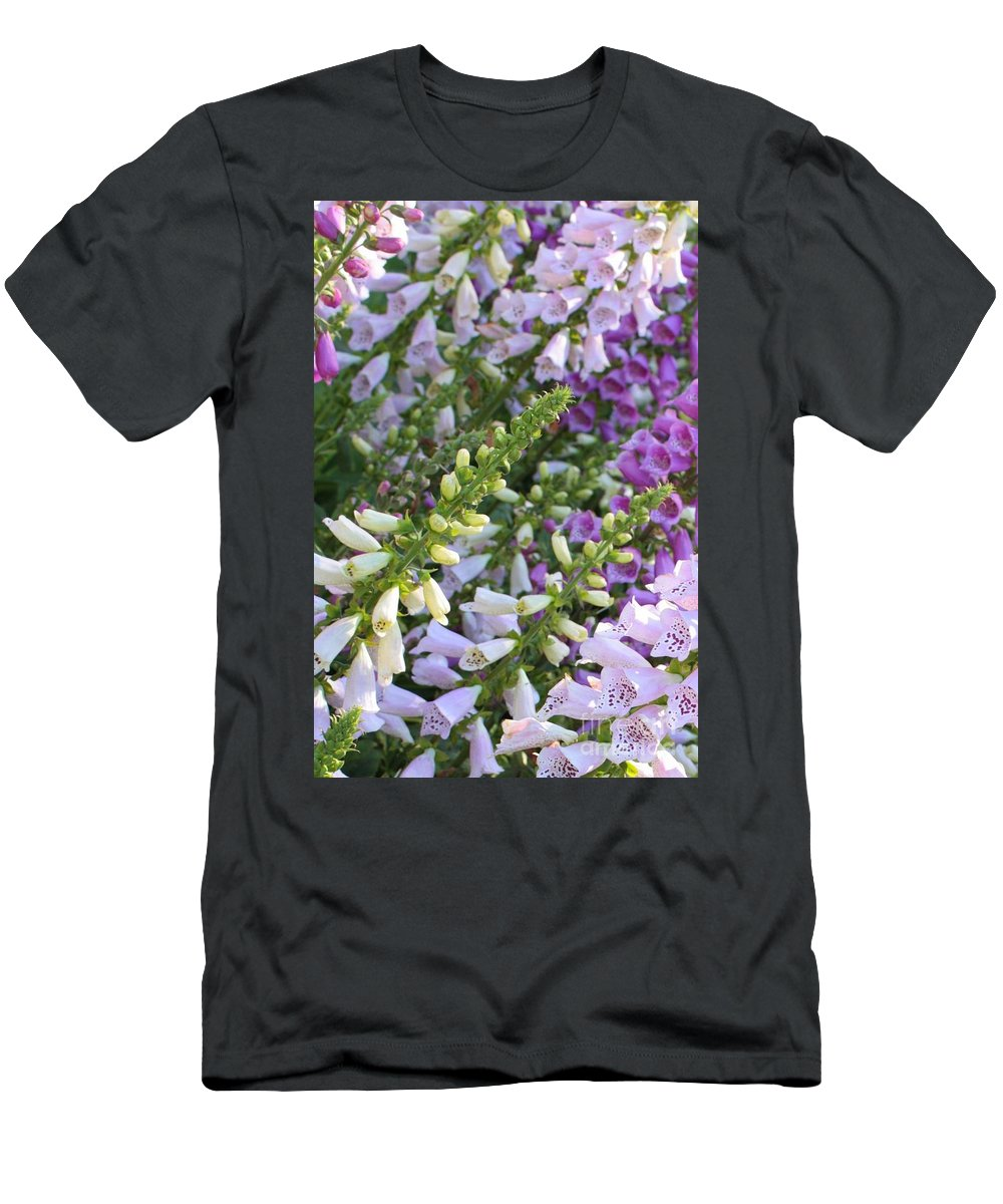 Foxgloves Men's T-Shirt (Athletic Fit) featuring the photograph Sunshine On Foxgloves by Carol Groenen