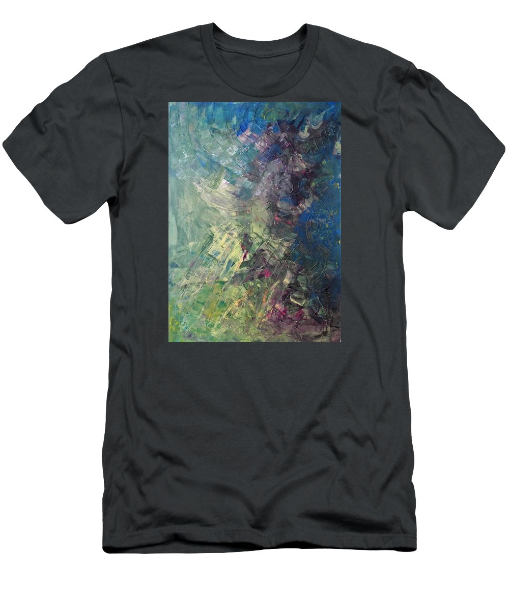 Abstract Art Men's T-Shirt (Athletic Fit) featuring the painting Surface Moon Of Another Venus by John Dossman