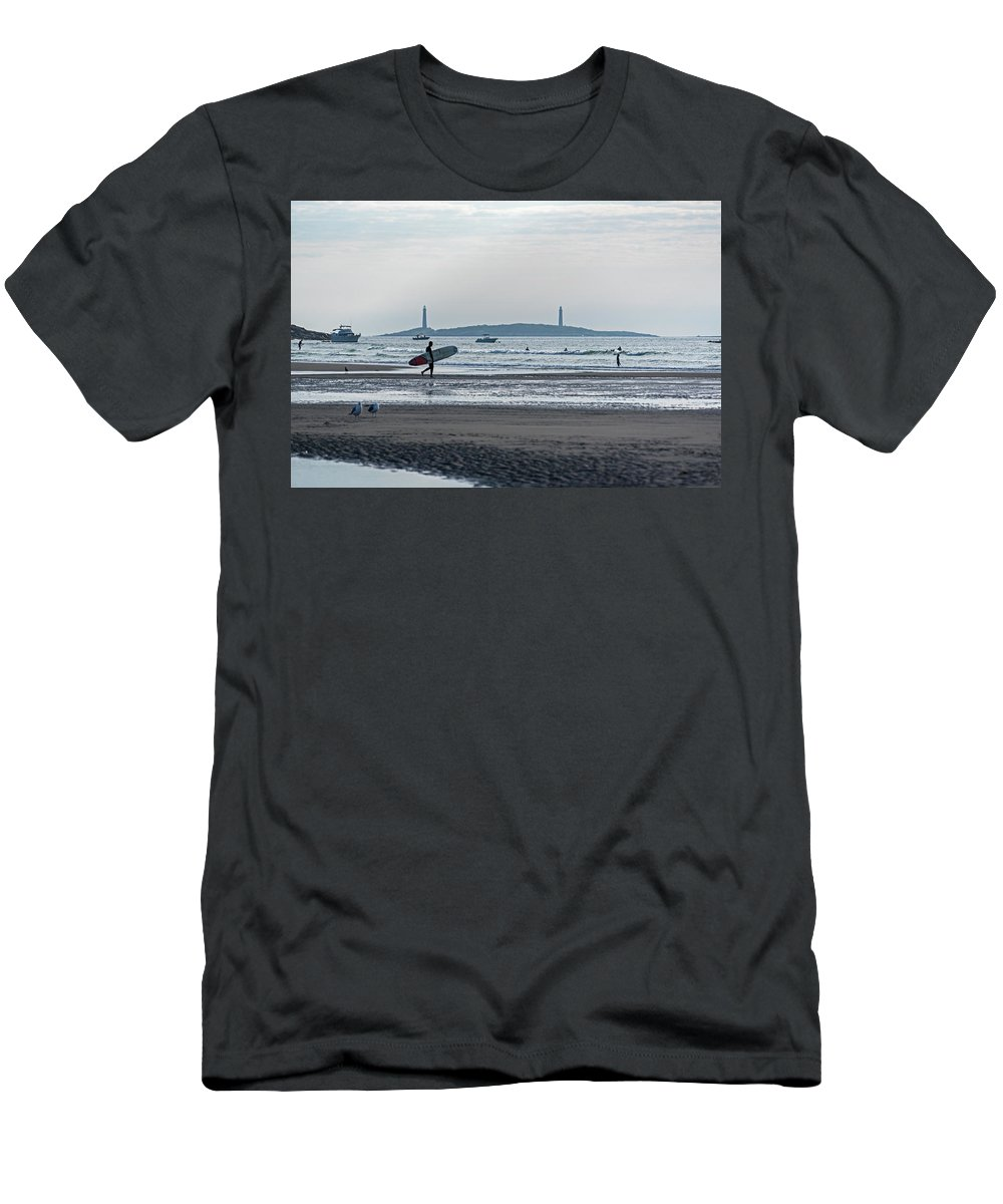 Gloucester Men's T-Shirt (Athletic Fit) featuring the photograph Surfing On Good Harbor Beach Gloucester Ma by Toby McGuire