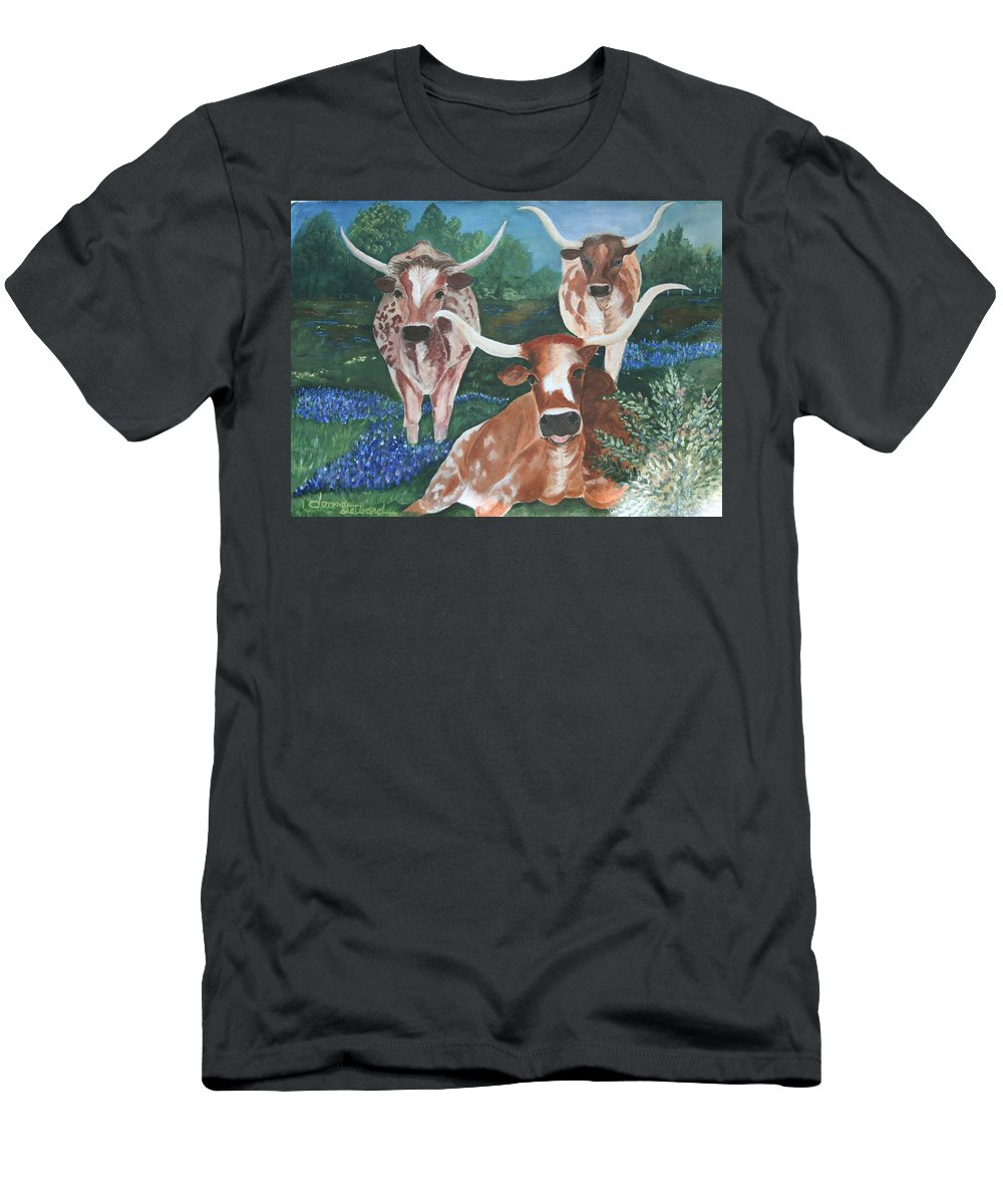 Longhorns Men's T-Shirt (Athletic Fit) featuring the painting Survivors by Donna Steward