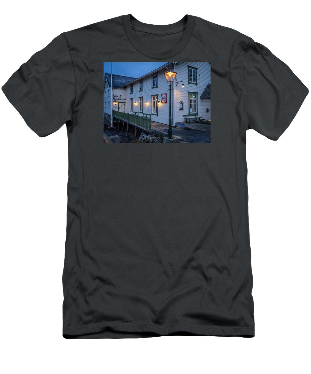 Norway Men's T-Shirt (Athletic Fit) featuring the photograph Svinoya Rorbuer by Mark Llewellyn