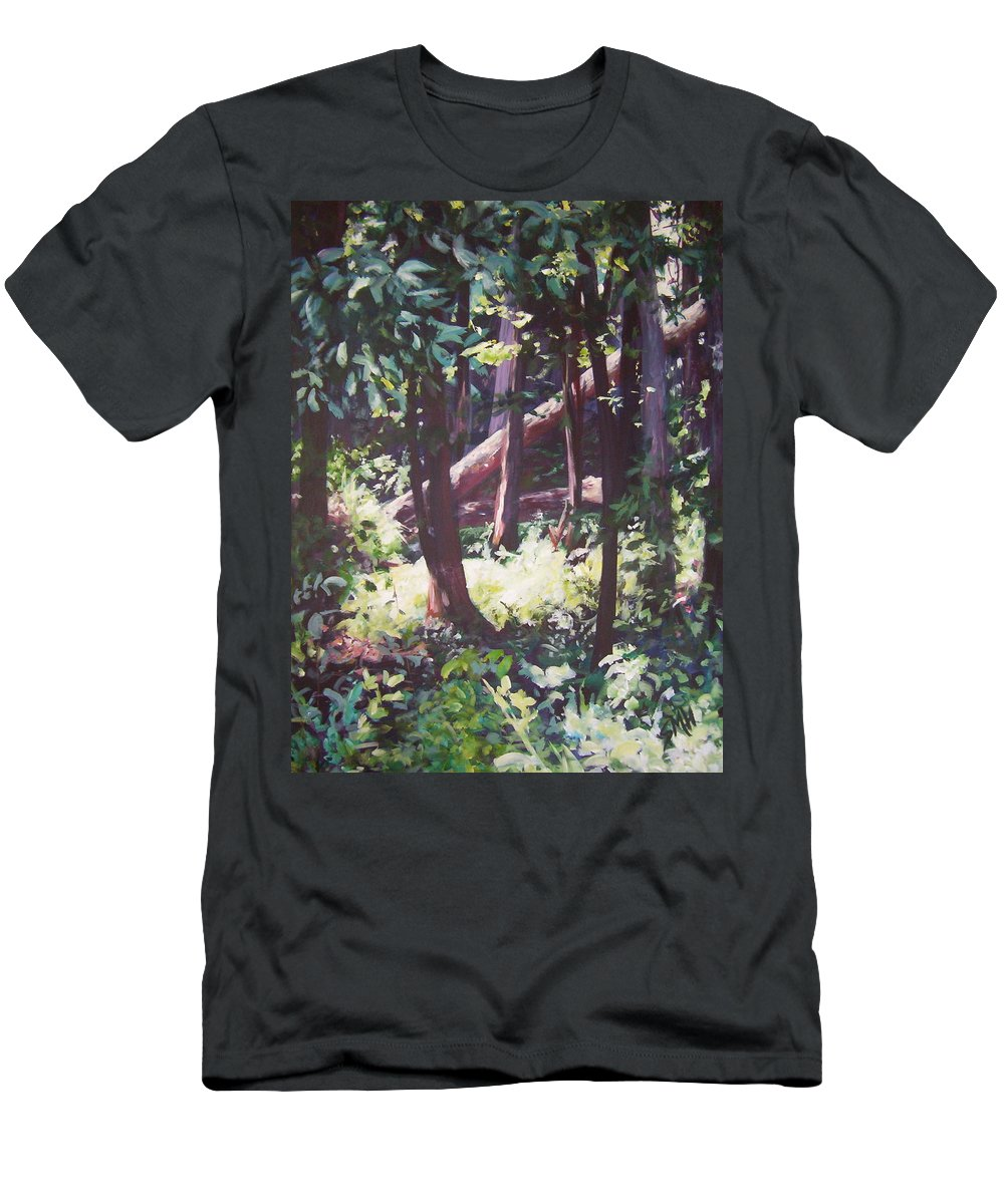 Landscape Men's T-Shirt (Athletic Fit) featuring the painting Swamp Glow by Sheila Holland