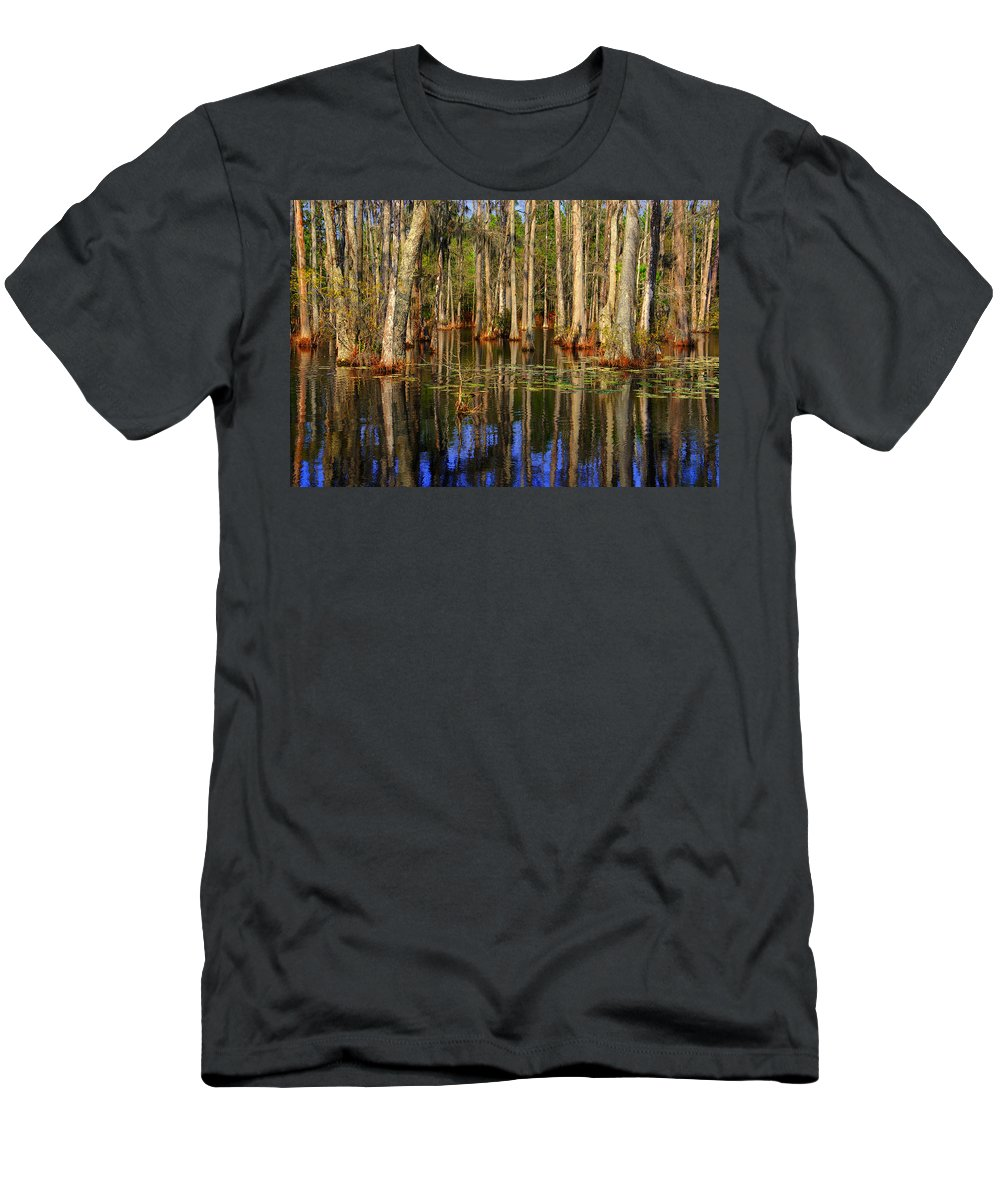 Swamp Men's T-Shirt (Athletic Fit) featuring the photograph Swamp Trees by Susanne Van Hulst