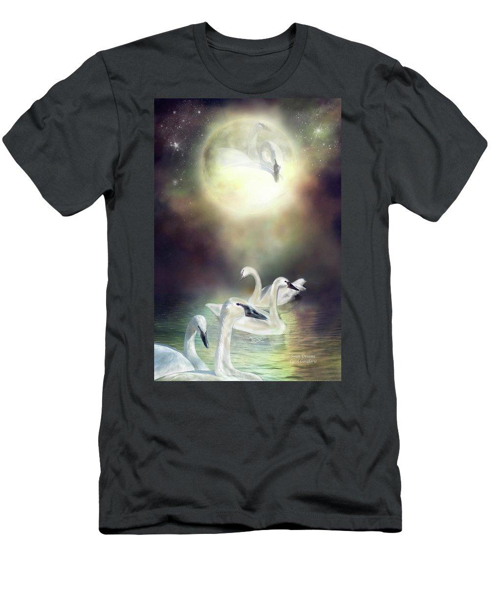 Swan Men's T-Shirt (Athletic Fit) featuring the mixed media Swan Dreams by Carol Cavalaris