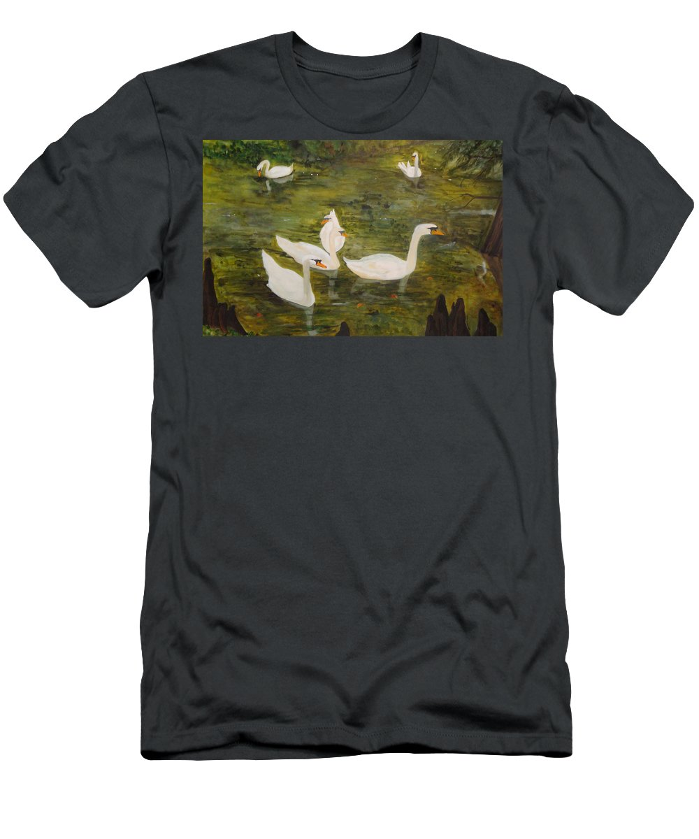 Swan Men's T-Shirt (Athletic Fit) featuring the painting Swan Lake by Jean Blackmer