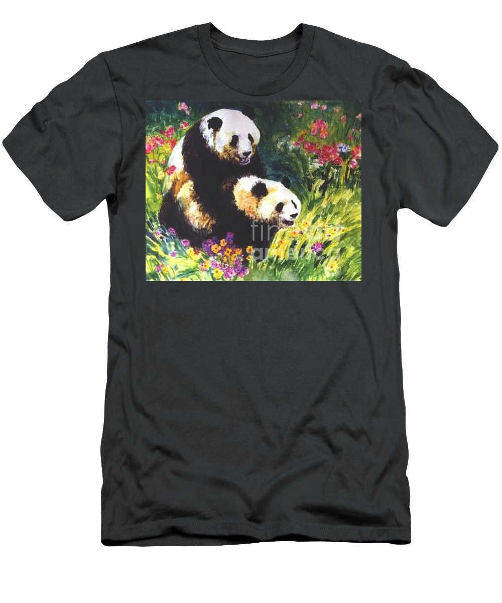Panda Men's T-Shirt (Athletic Fit) featuring the painting Sweet As Honey by Guanyu Shi