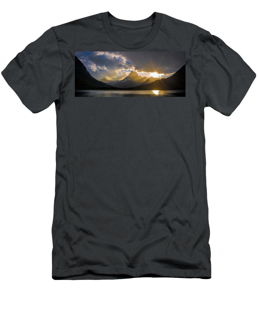Park Men's T-Shirt (Athletic Fit) featuring the photograph Swiftcurrent Lake Sundown Glacier N P by Steve Gadomski