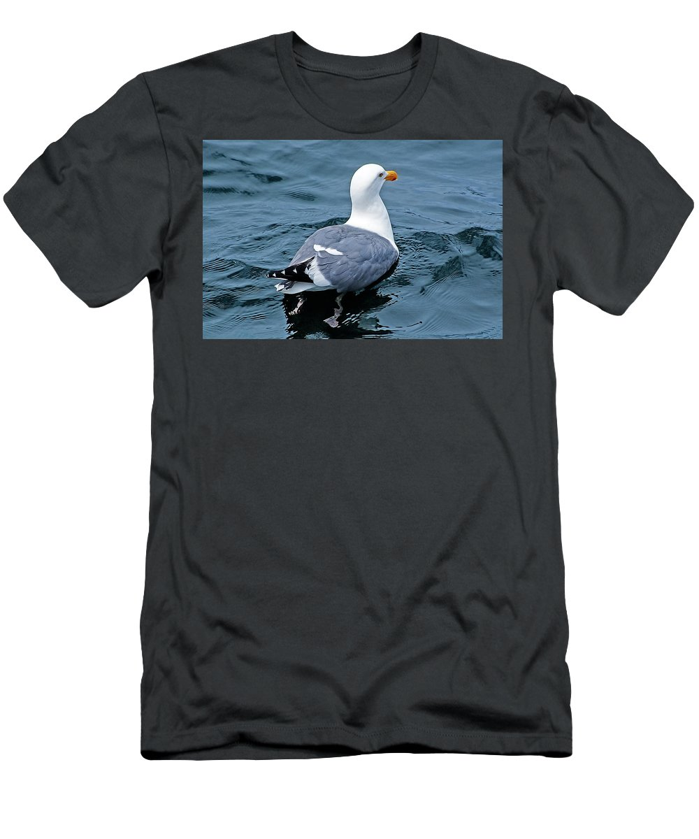 Seagull Men's T-Shirt (Athletic Fit) featuring the photograph Swimmin' Away by Jay Billings