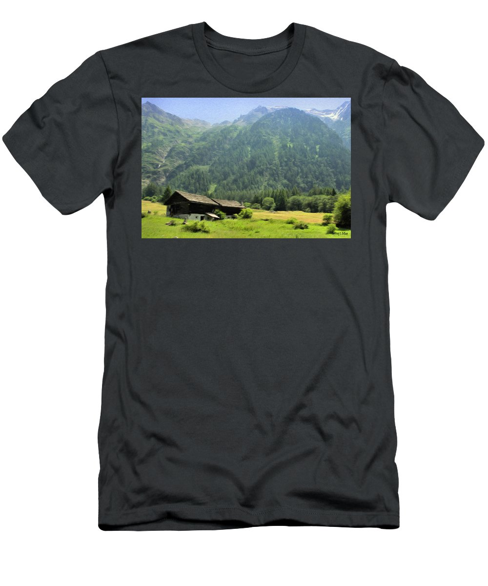 Switzerland Men's T-Shirt (Athletic Fit) featuring the painting Swiss Mountain Home by Jeffrey Kolker