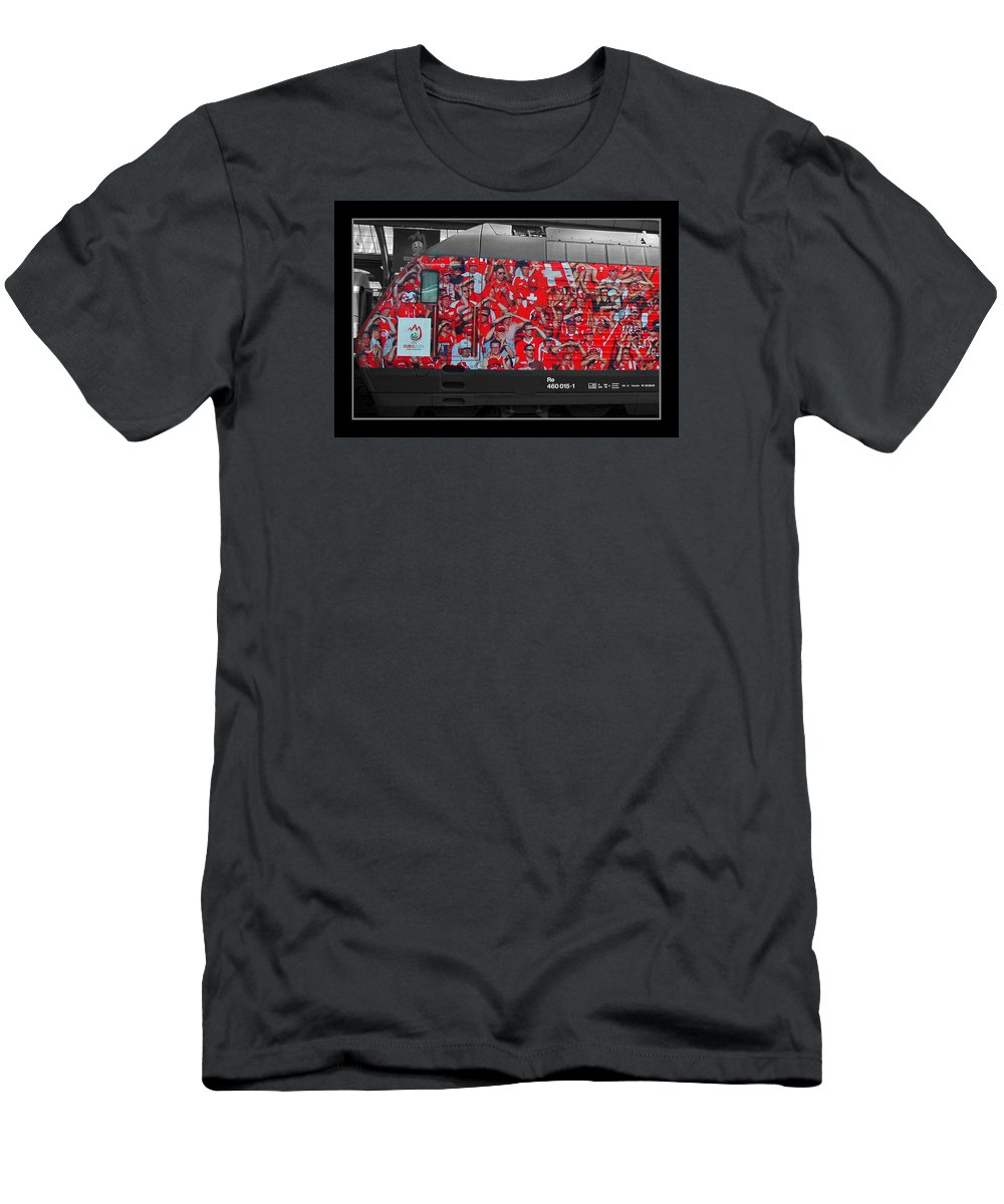 Zurich Men's T-Shirt (Athletic Fit) featuring the photograph Swiss Train To Zurich by Ginger Wakem