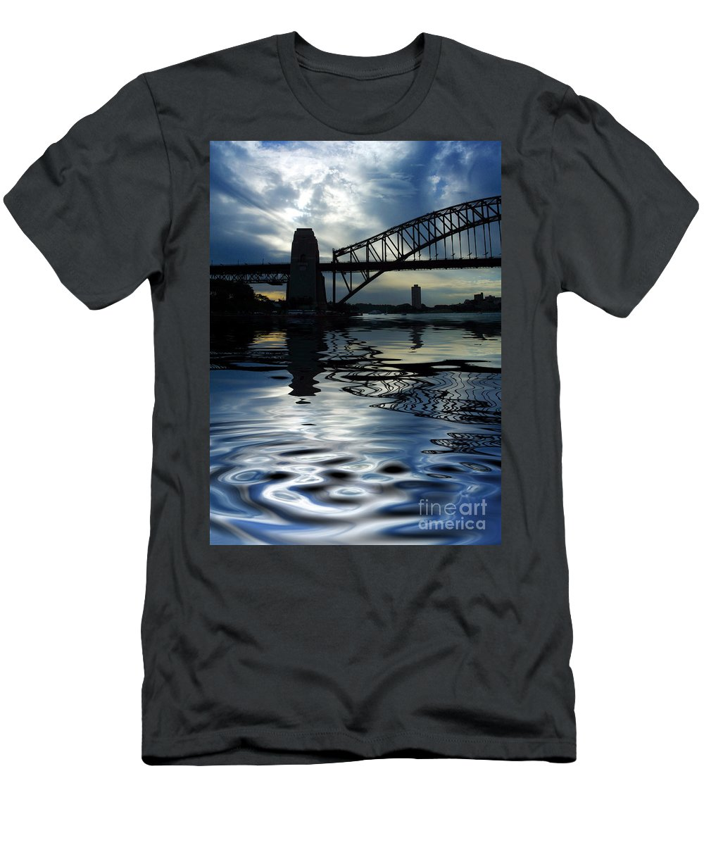 Sydney Harbour Australia Bridge Reflection Men's T-Shirt (Athletic Fit) featuring the photograph Sydney Harbour Bridge Reflection by Sheila Smart Fine Art Photography
