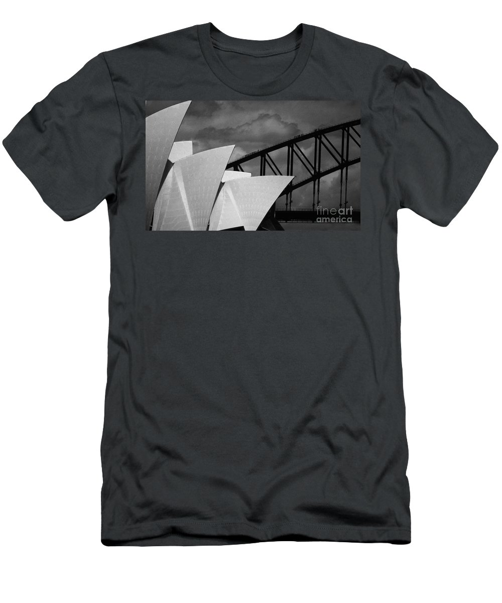Sydney Opera House Men's T-Shirt (Athletic Fit) featuring the photograph Sydney Opera House With Harbour Bridge by Avalon Fine Art Photography