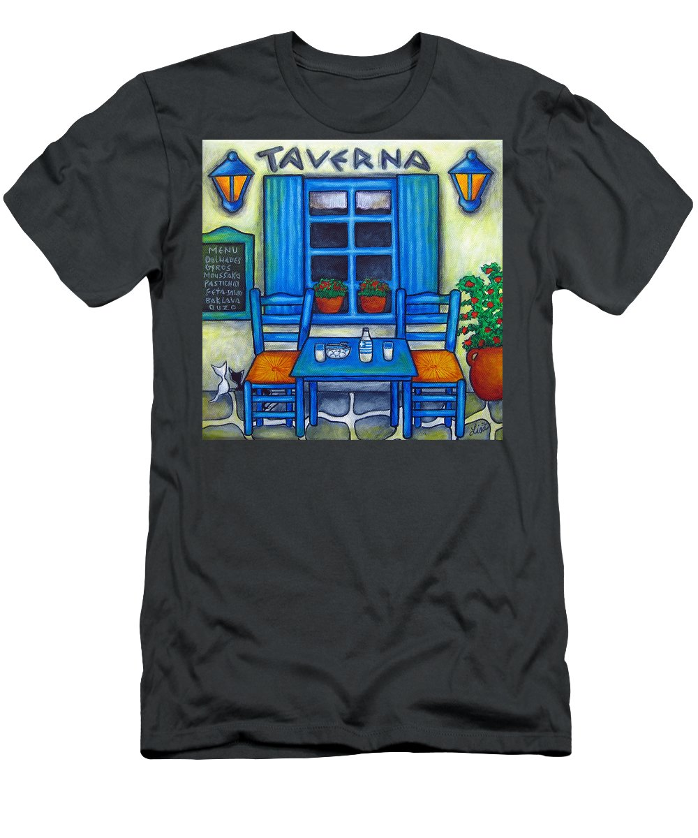 Blues T-Shirt featuring the painting Table for Two in Greece by Lisa Lorenz