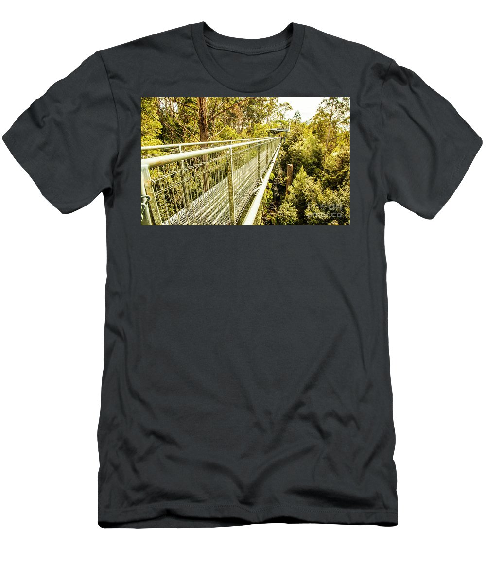 Forest Men's T-Shirt (Athletic Fit) featuring the photograph Tahune Airwalk Tasmania by Jorgo Photography - Wall Art Gallery