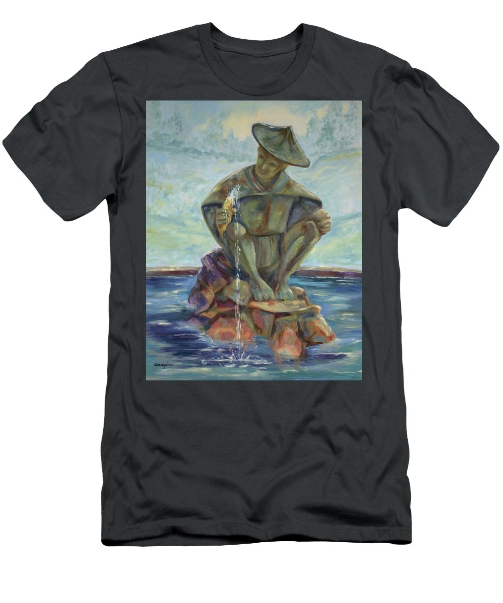 Landscape Men's T-Shirt (Athletic Fit) featuring the painting Taipei Fountain by Ginger Concepcion