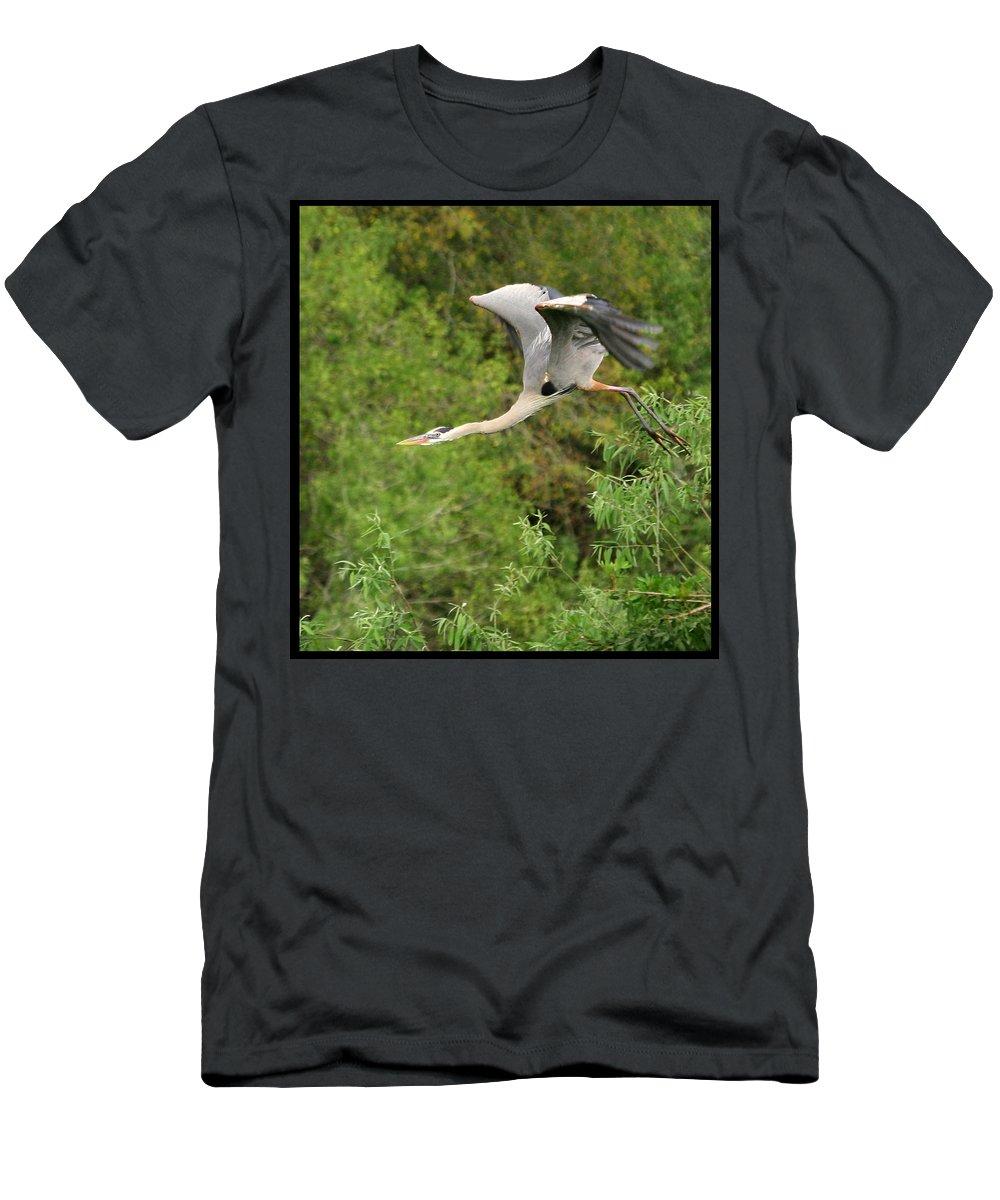 Blue Heron Flight Flying Bird Photography Digital Art Photograph Florida Shore Men's T-Shirt (Athletic Fit) featuring the photograph Take Off by Shari Jardina