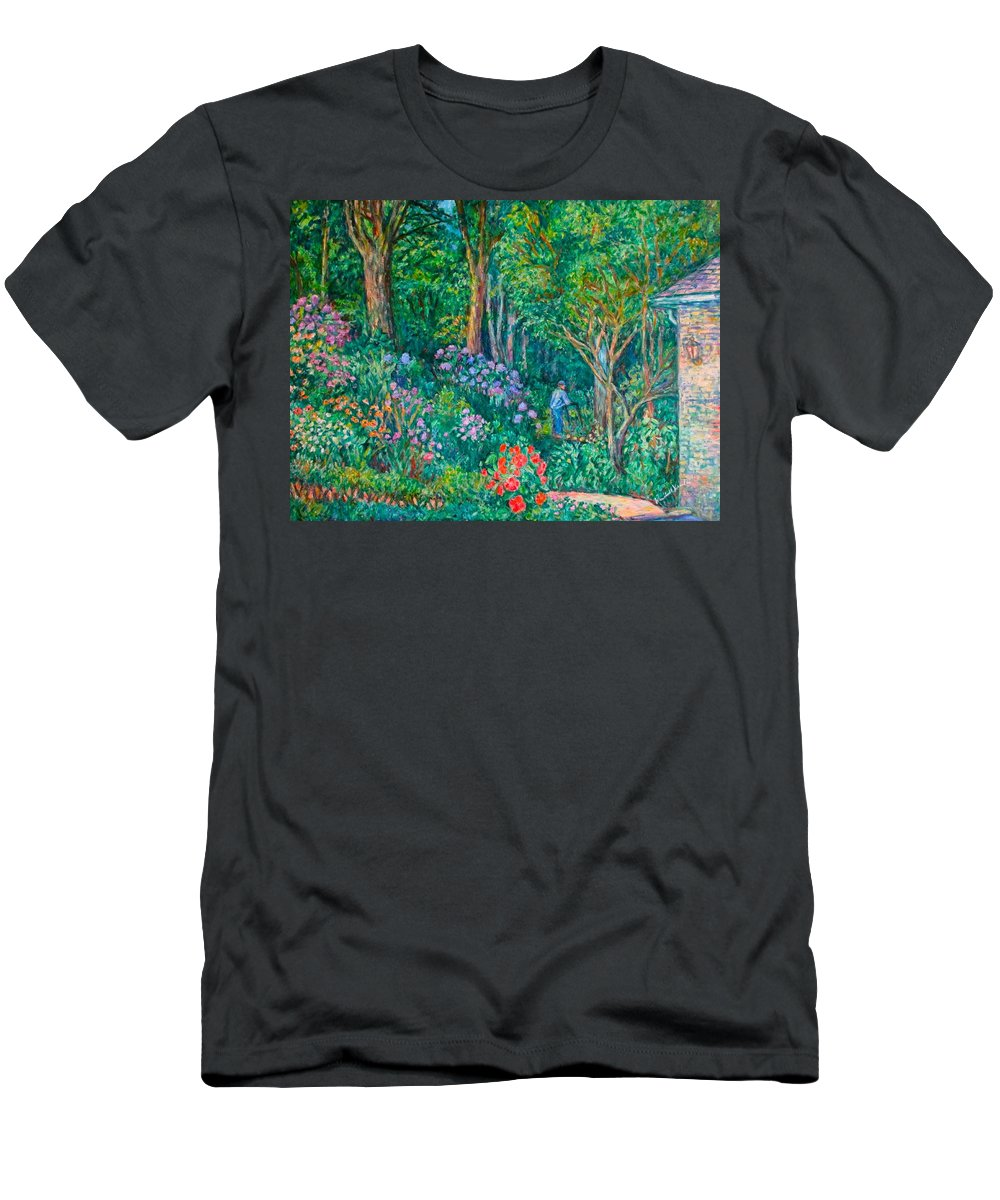 Suburban Paintings Men's T-Shirt (Athletic Fit) featuring the painting Taking A Break by Kendall Kessler