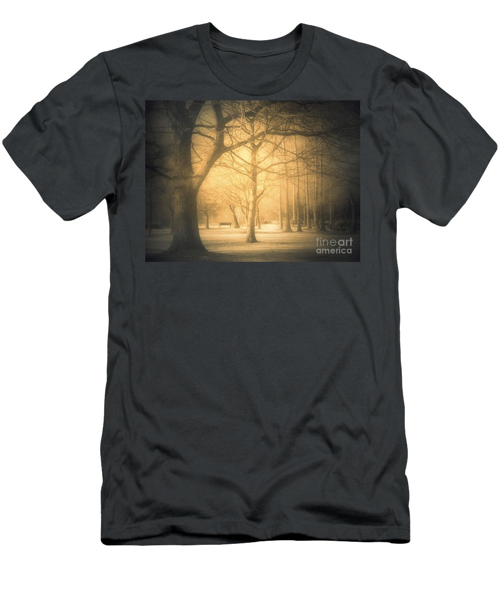 Sepia Men's T-Shirt (Athletic Fit) featuring the photograph Taking Cover by Tara Turner