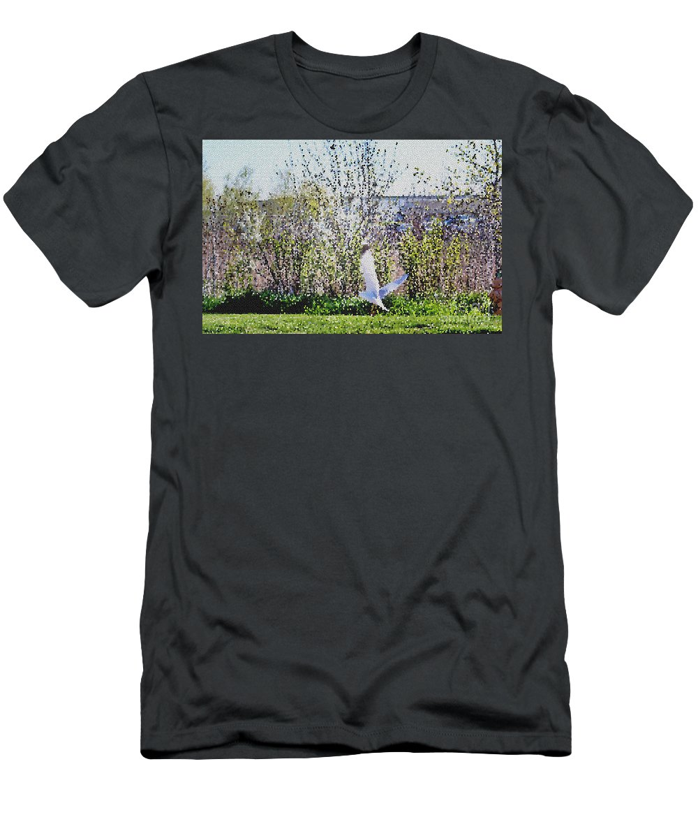 Nature Men's T-Shirt (Athletic Fit) featuring the mixed media Taking Off by Don Baker