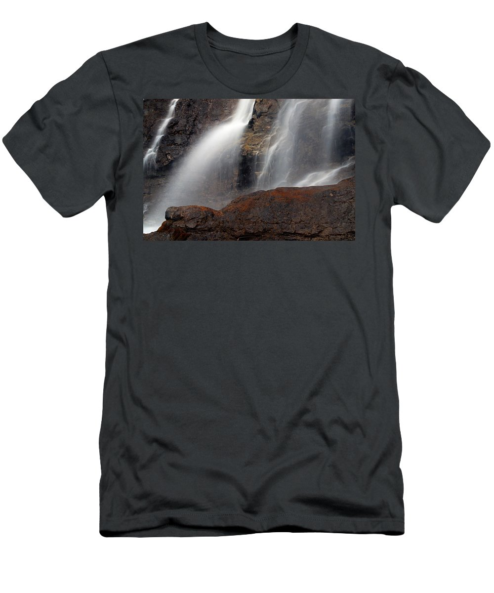 Tangle Falls Men's T-Shirt (Athletic Fit) featuring the photograph Tangle Falls Closeup 9 by Larry Ricker