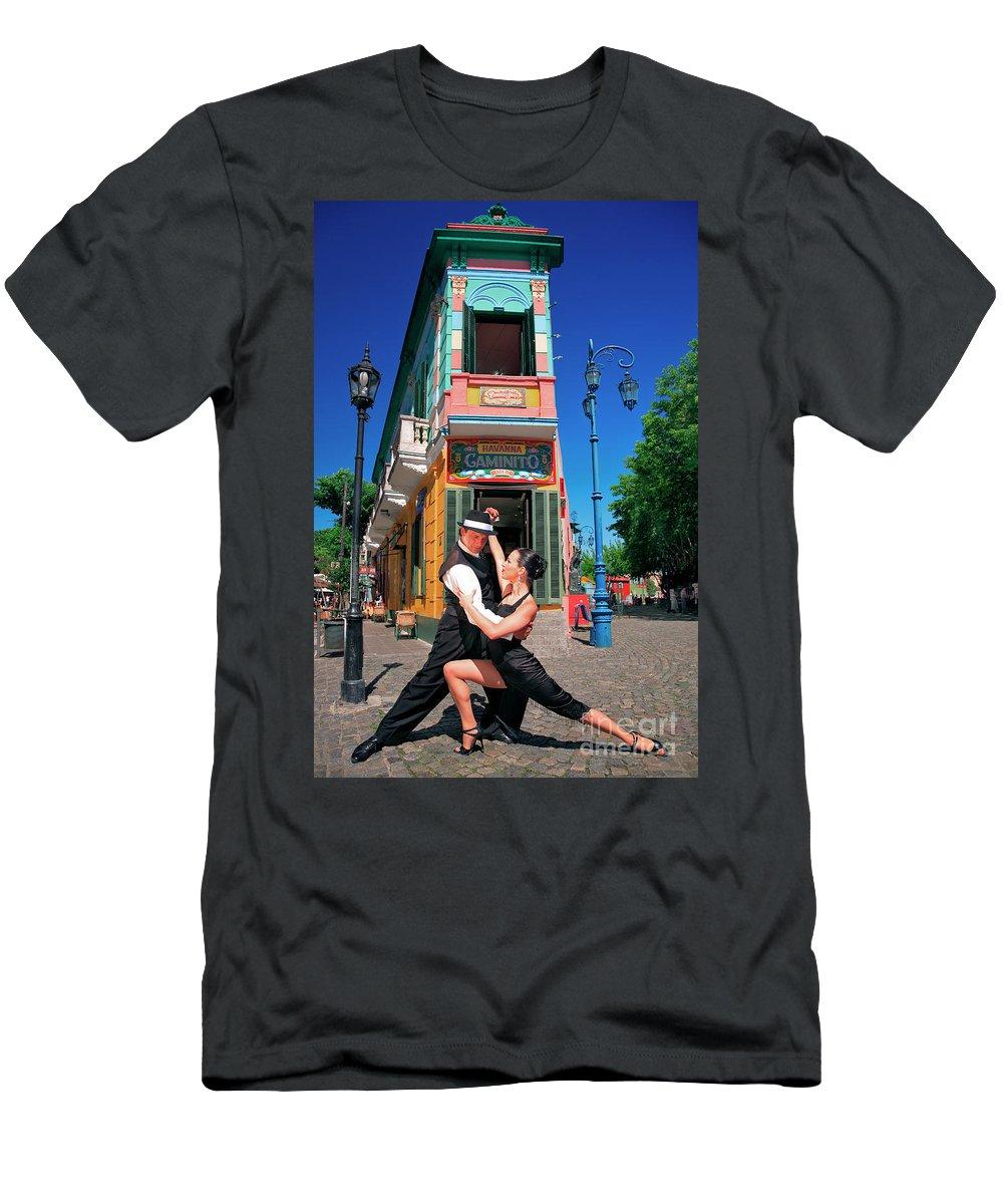 Caminito Men's T-Shirt (Athletic Fit) featuring the photograph Tango At Caminito by Bernardo Galmarini