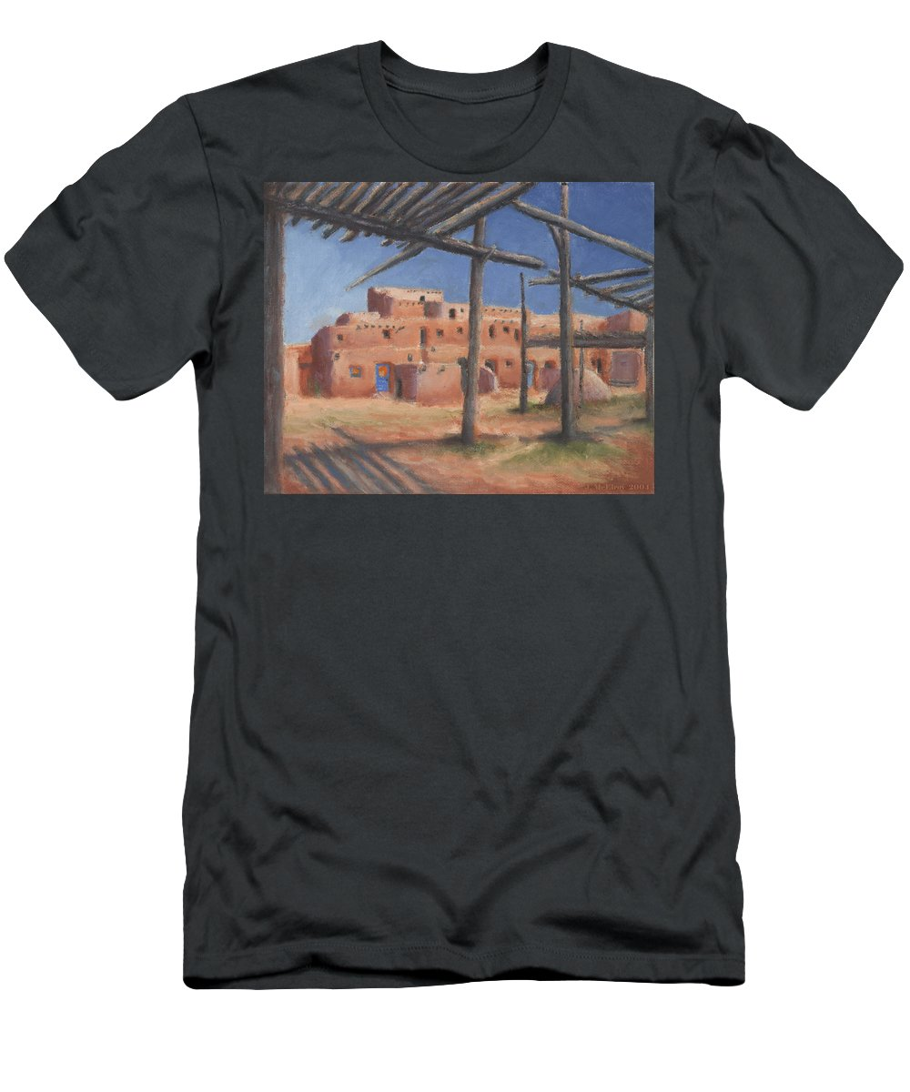 Taos Men's T-Shirt (Athletic Fit) featuring the painting Taos Pueblo by Jerry McElroy