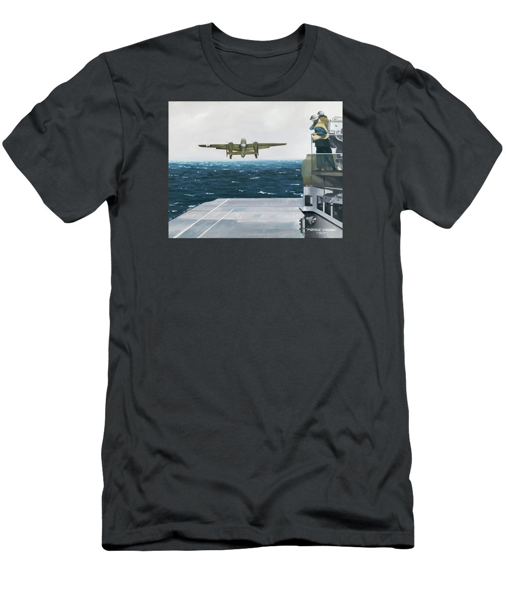 Aviation Men's T-Shirt (Athletic Fit) featuring the painting Target Tokyo by Marc Stewart