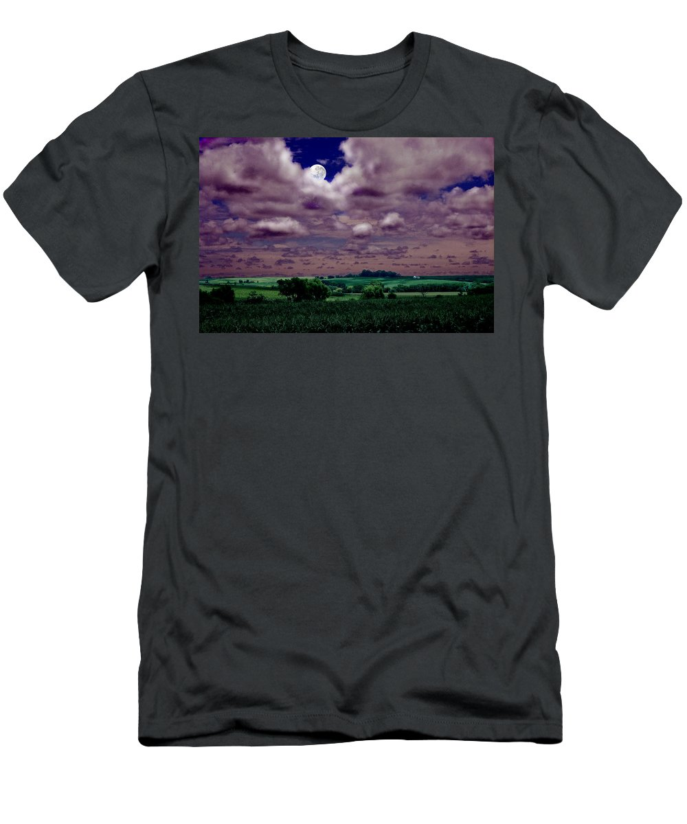 Landscape Men's T-Shirt (Athletic Fit) featuring the photograph Tarkio Moon by Steve Karol