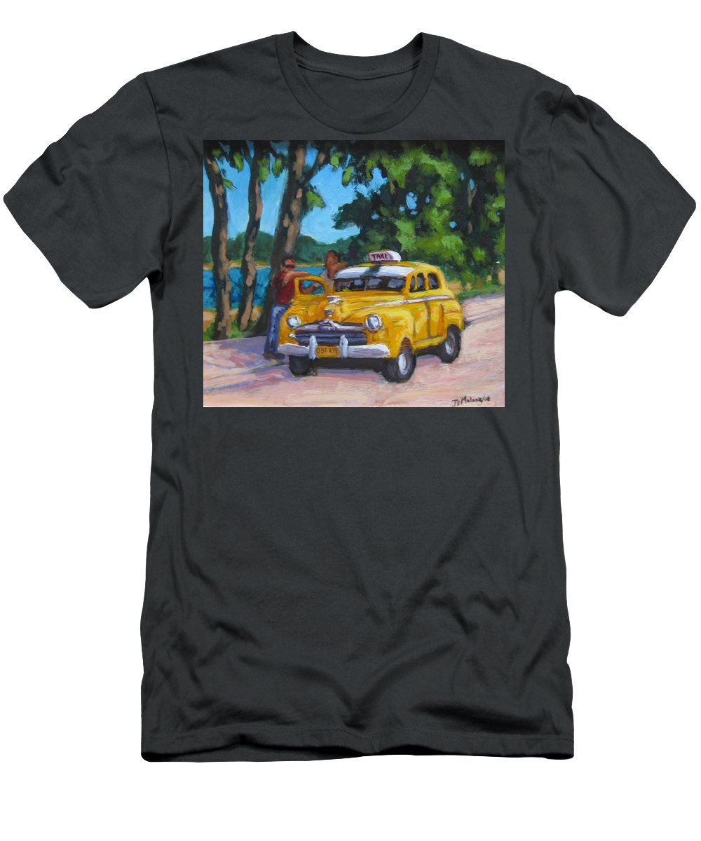 Old Cars Men's T-Shirt (Athletic Fit) featuring the painting Taxi Y Amigos by John Malone