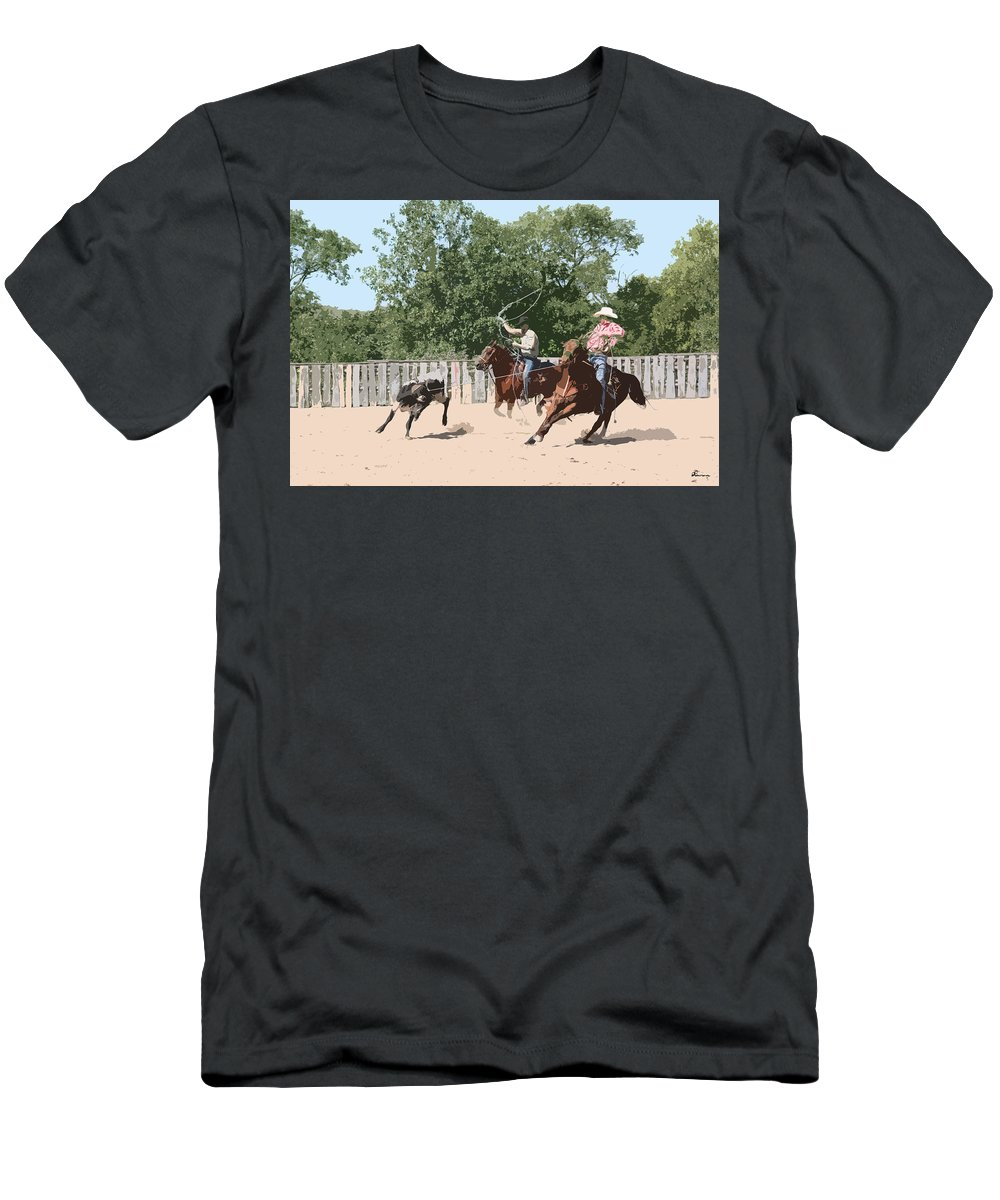 Cow Calf Horses Team Roping Cowboy Ranch Saddle Bridal Reins Boots Hat Rope Spurs Farm Arena Fence Men's T-Shirt (Athletic Fit) featuring the photograph Team Roping by Andrea Lawrence