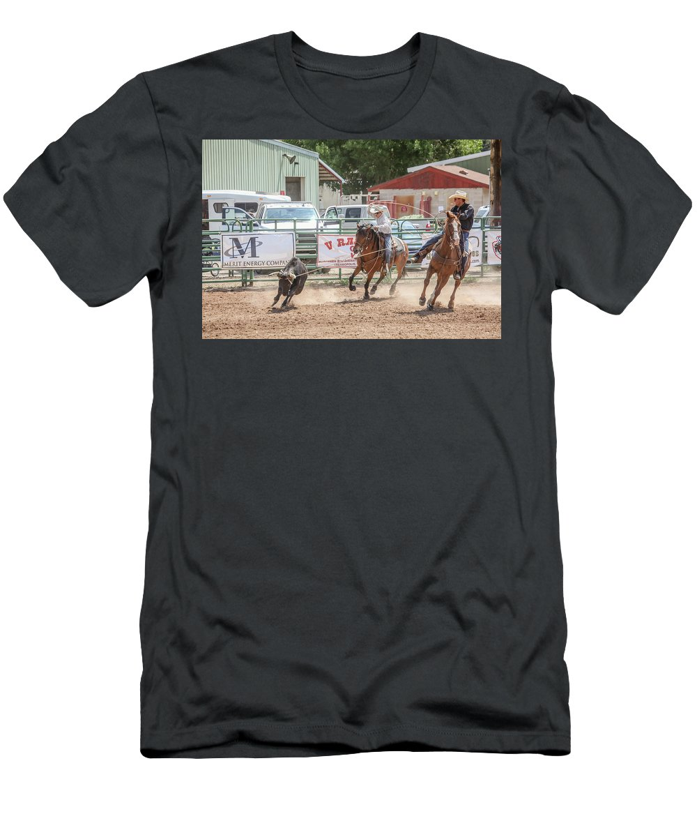 Horse Men's T-Shirt (Athletic Fit) featuring the photograph Teamwork by Gemdelin Jackson