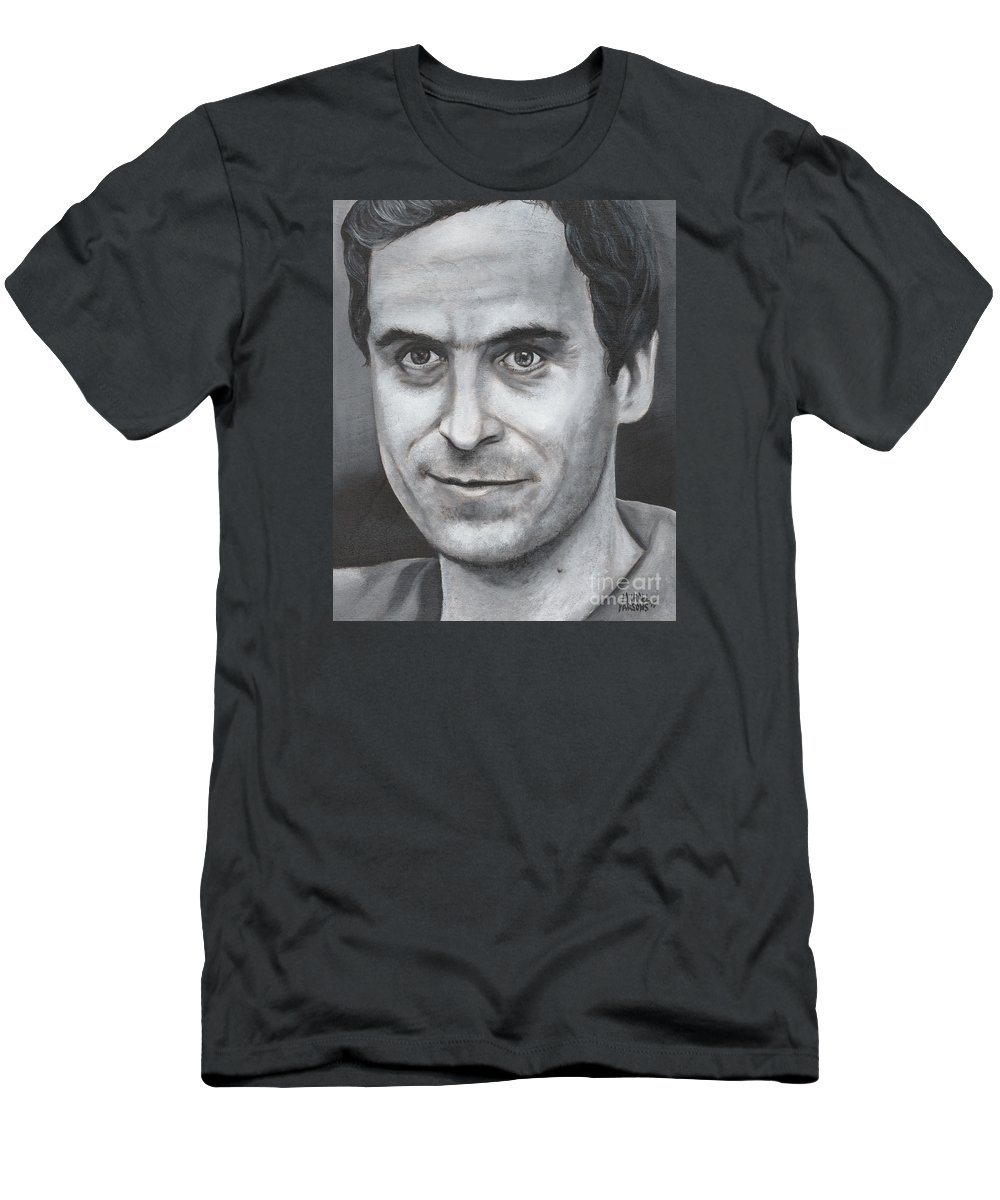 Ted Bundy Men's T-Shirt (Athletic Fit) featuring the painting Ted Bundy by Michael Parsons
