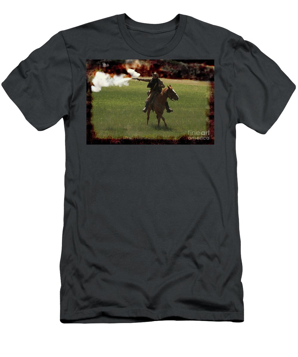 Re-enactor Men's T-Shirt (Athletic Fit) featuring the photograph Tejano Cavalry by Kim Henderson