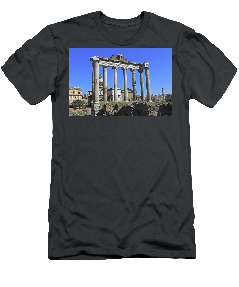 Rome Men's T-Shirt (Athletic Fit) featuring the photograph Temple Of Saturn by Tony Murtagh
