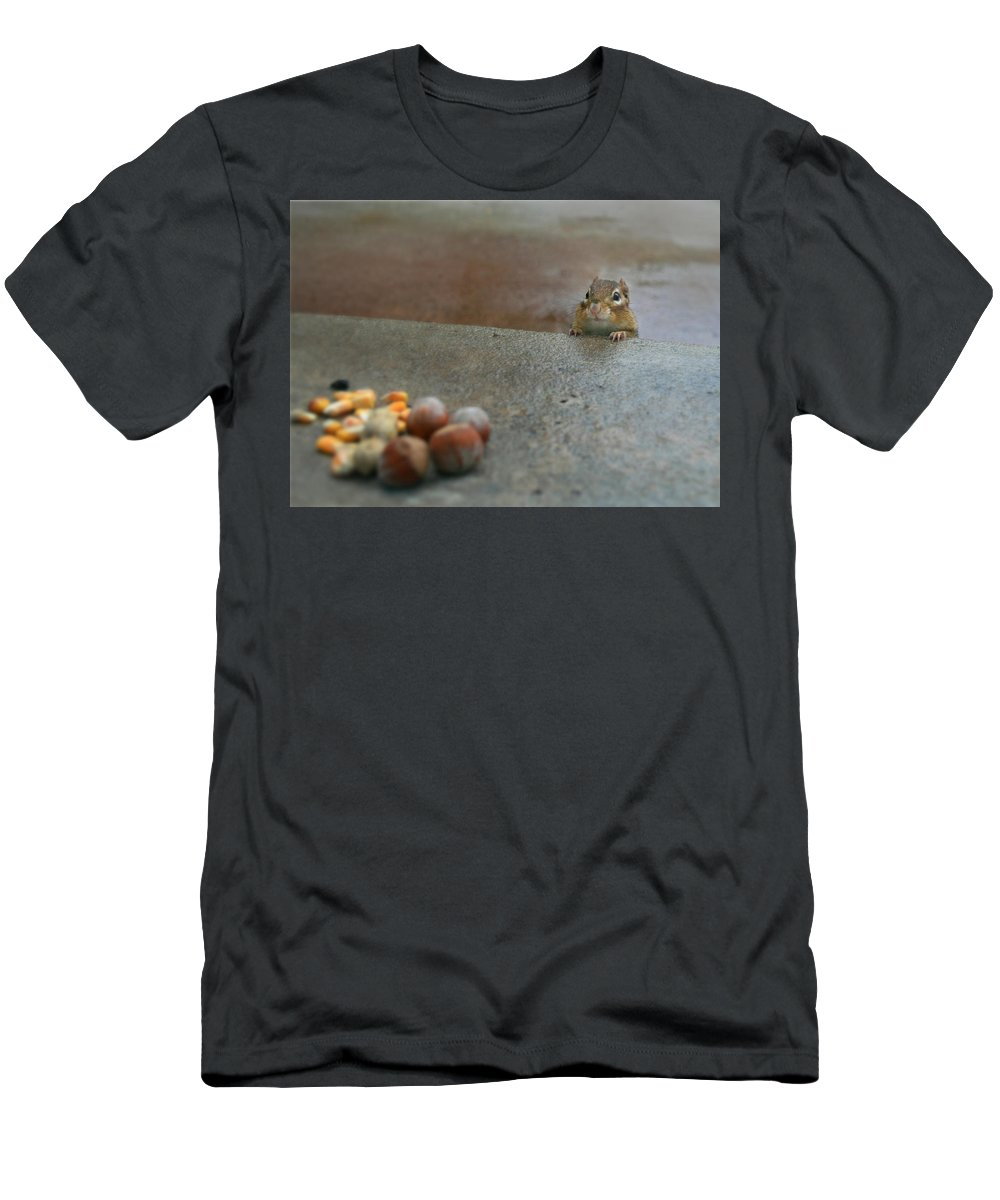 Chipmunk Men's T-Shirt (Athletic Fit) featuring the photograph Temptation by Lori Deiter