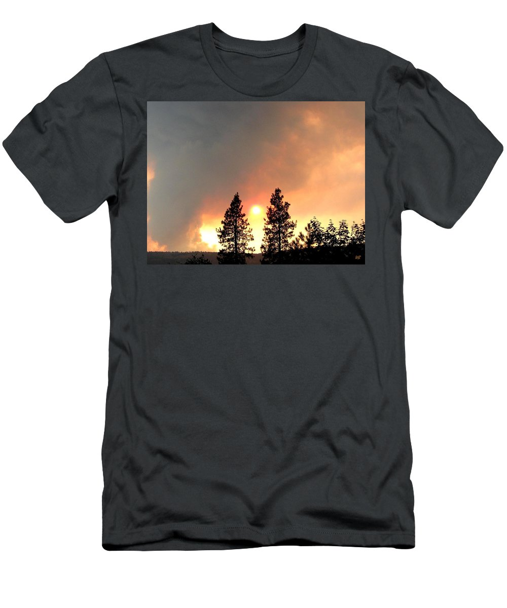 Forest Fire Men's T-Shirt (Athletic Fit) featuring the photograph Terrace Mountain Fire 2 by Will Borden