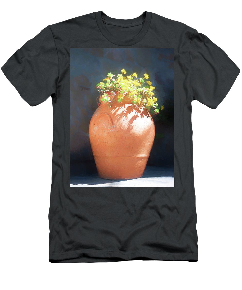 Terracotta Vase Men's T-Shirt (Athletic Fit) featuring the photograph Terracotta Vase And Flowers by Susan Heslington