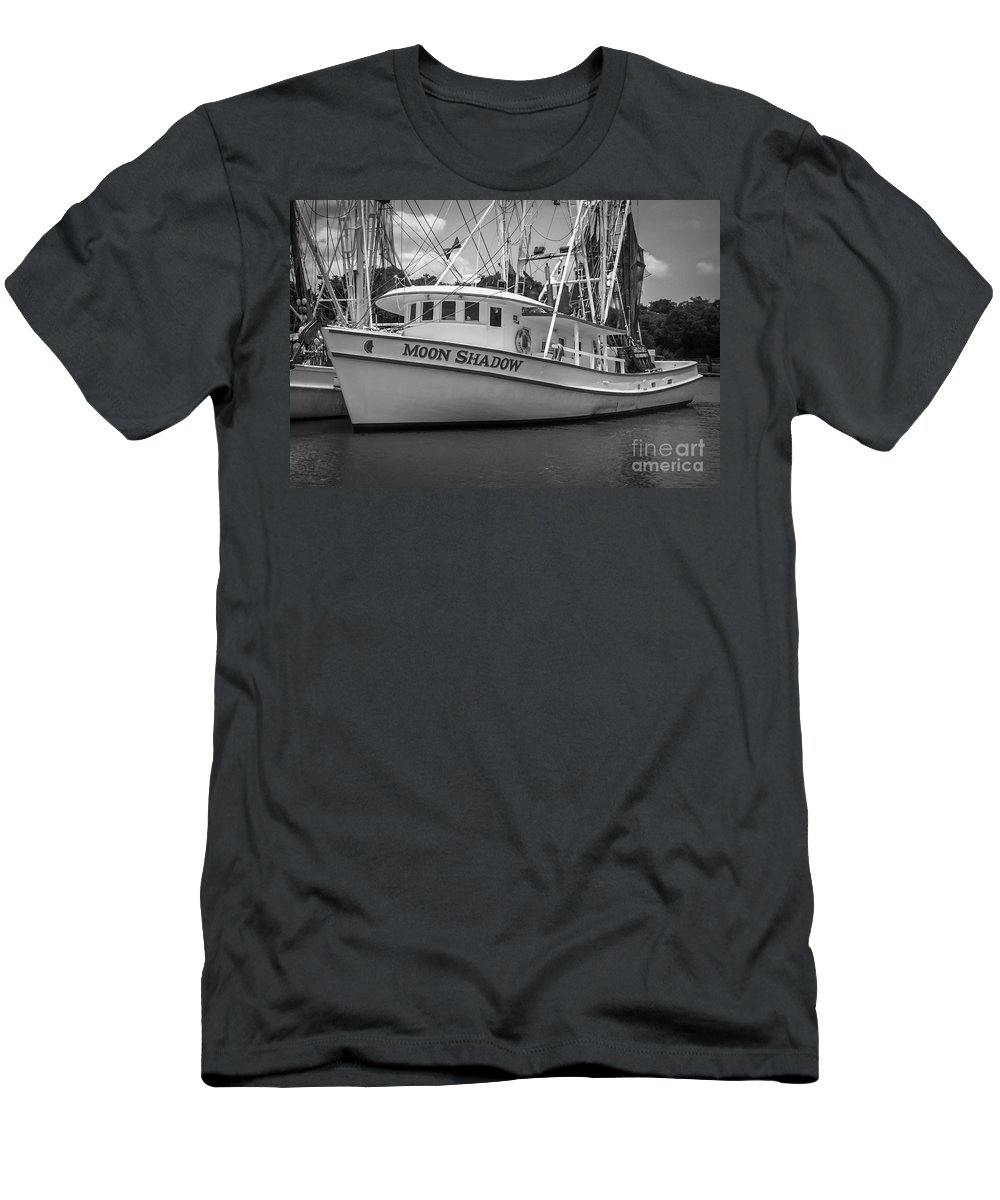 Moon Shadow Men's T-Shirt (Athletic Fit) featuring the photograph Moon Shadow Working Boat by Dale Powell