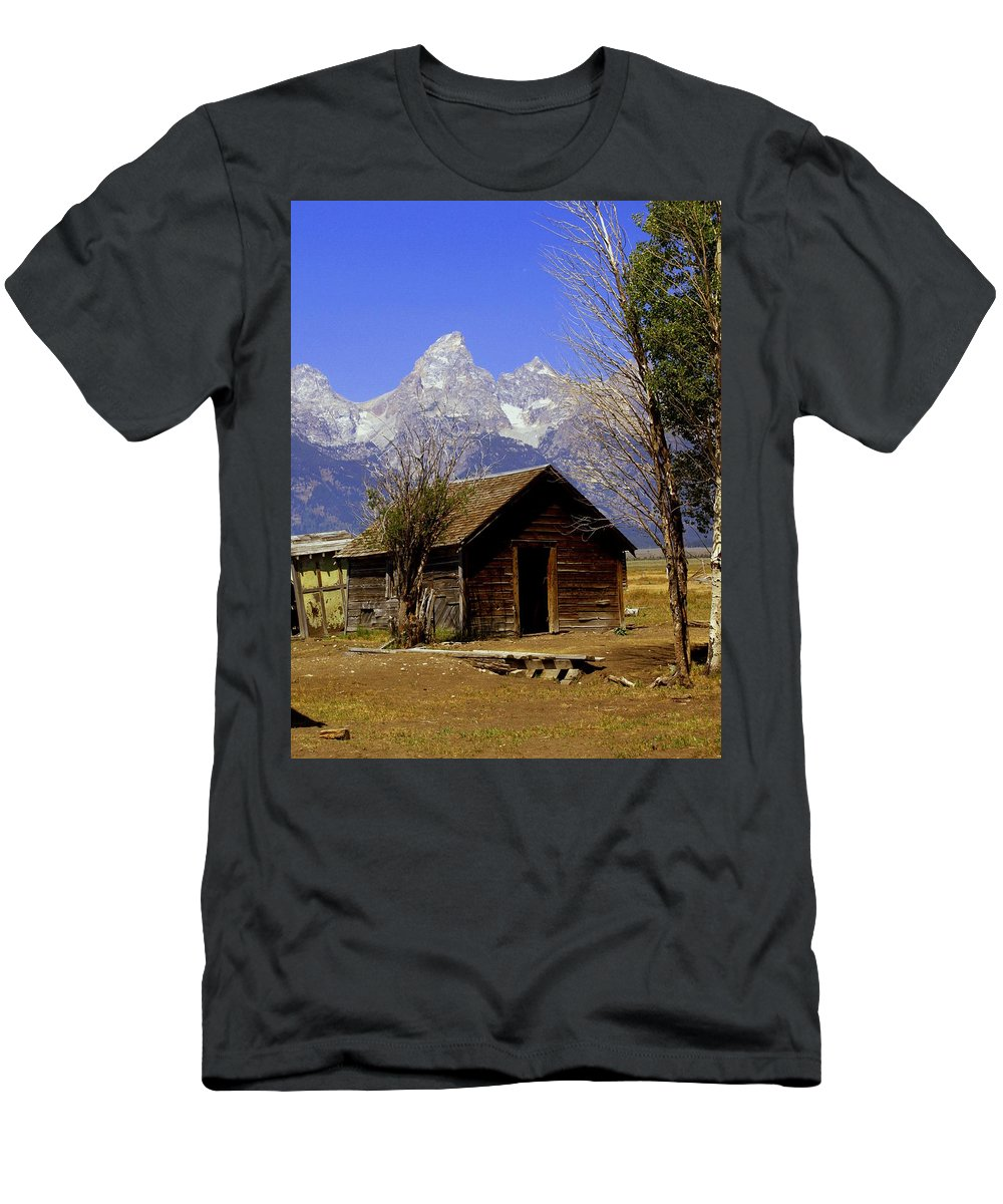 Grand Teton National Park Men's T-Shirt (Athletic Fit) featuring the photograph Teton Cabin by Marty Koch