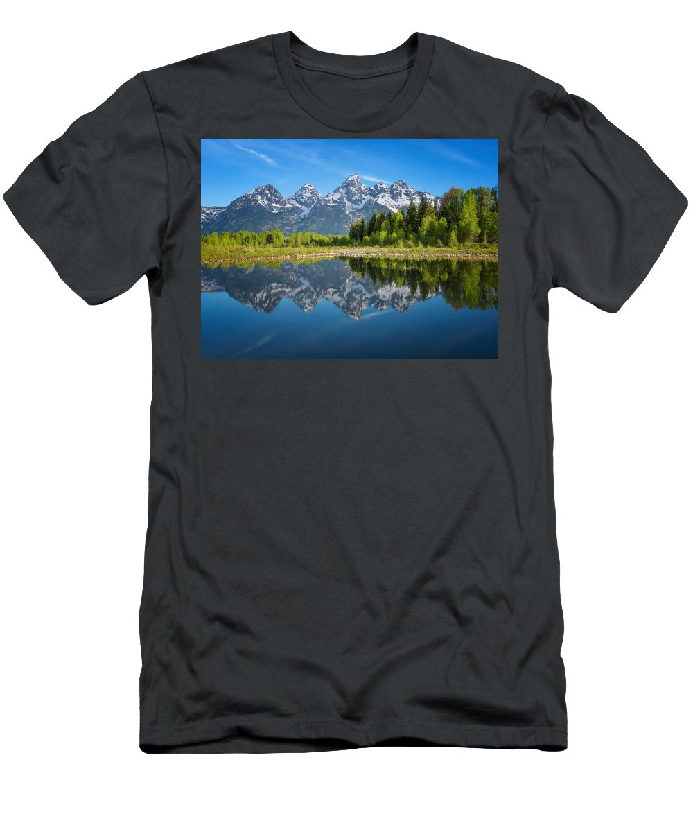 Grand Teton National Park Men's T-Shirt (Athletic Fit) featuring the photograph Teton Reflection by Darren White