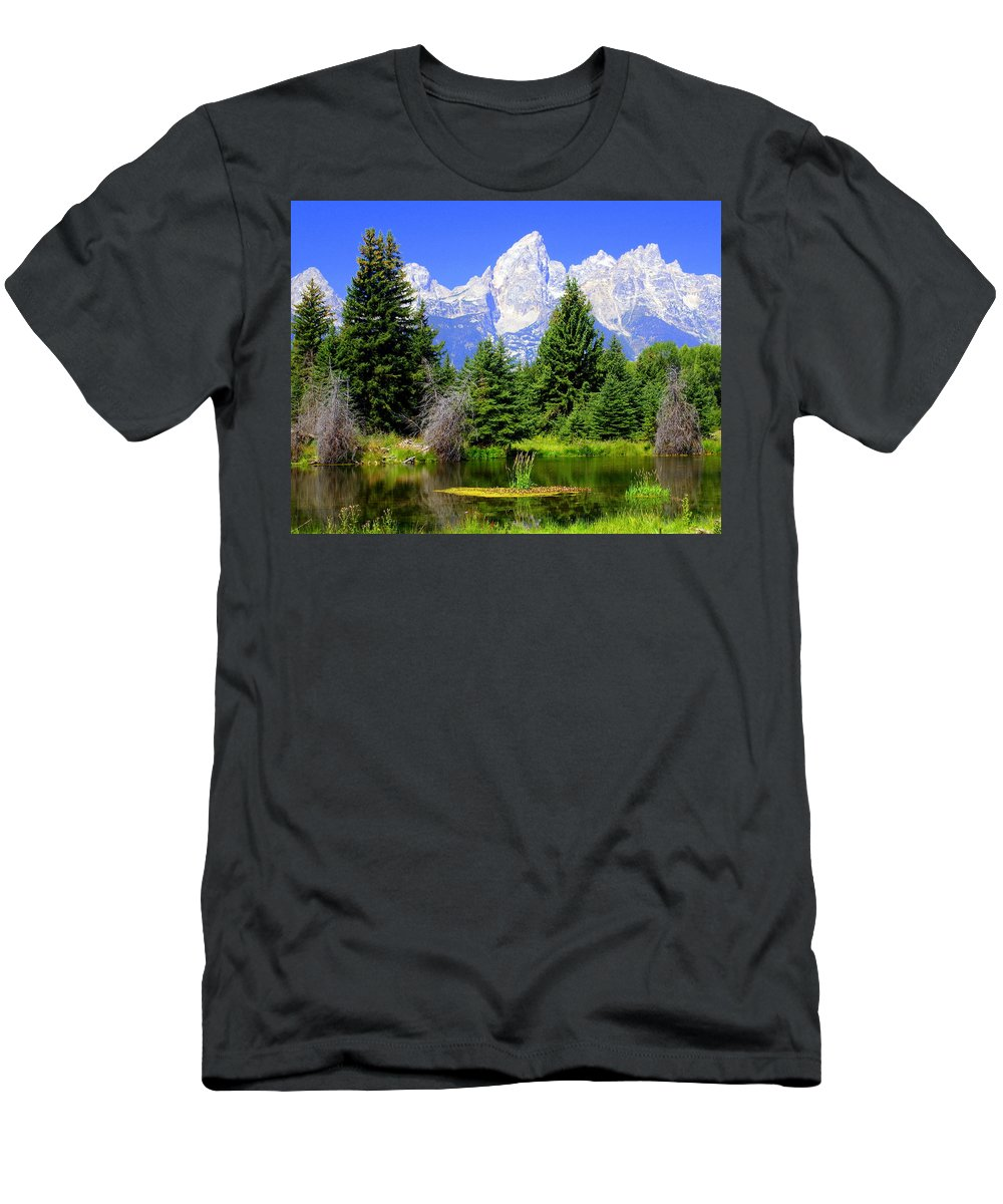 Grand Teton National Park Men's T-Shirt (Athletic Fit) featuring the photograph Tetons 3 by Marty Koch