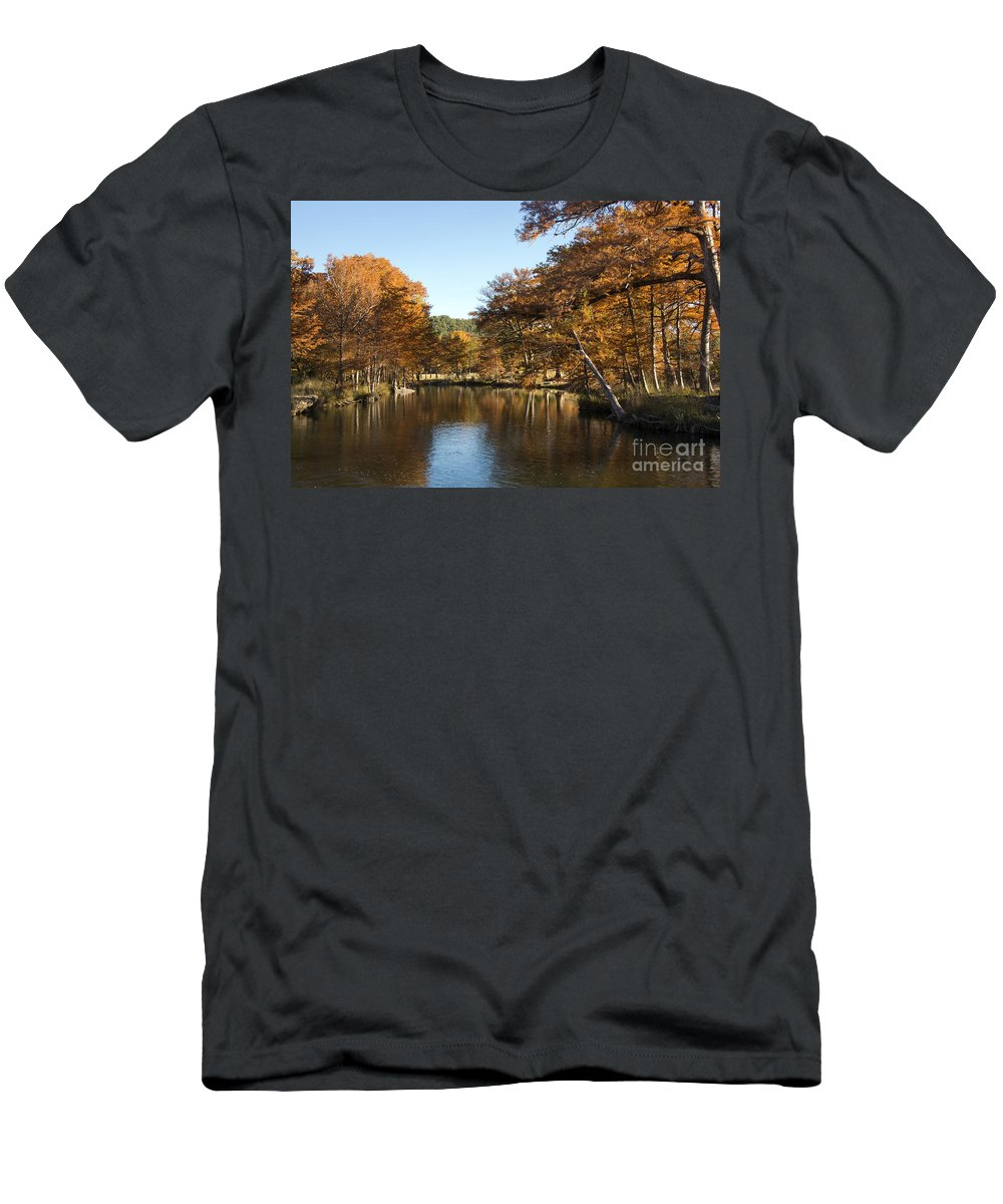 Hunt Texas Autumn Color Fall Colors Water Cypress Tree Trees Leaf Leafs Rock Rocks Reflection Reflections Guadalupe River Rivers Landscape Landscapes Waterscape Waterscapes Men's T-Shirt (Athletic Fit) featuring the photograph Texas Autumn by Bob Phillips