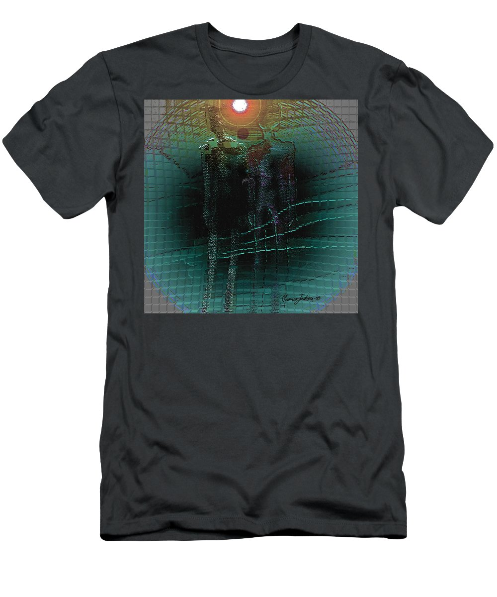 People Alien Arrival Visitors Men's T-Shirt (Athletic Fit) featuring the digital art The Arrival by Veronica Jackson